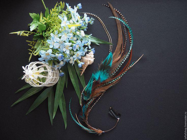 Заколка для волос - Принцесса Персии, перья в волосы, коричневый - полосатый, перо, перья