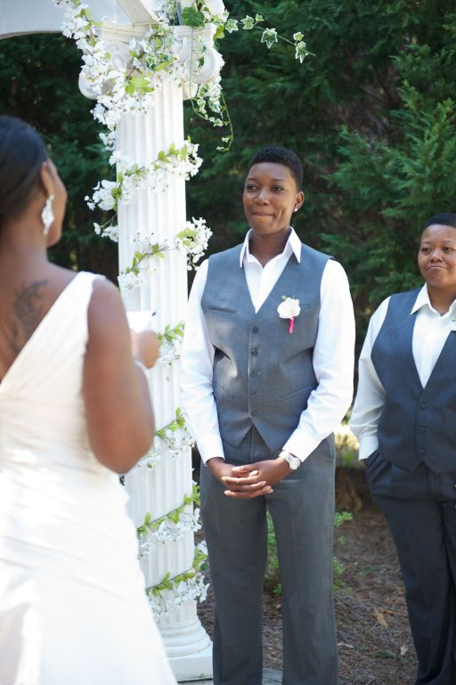 17 best images about gray wedding suits and tuxes for for Lesbian wedding dresses and suits