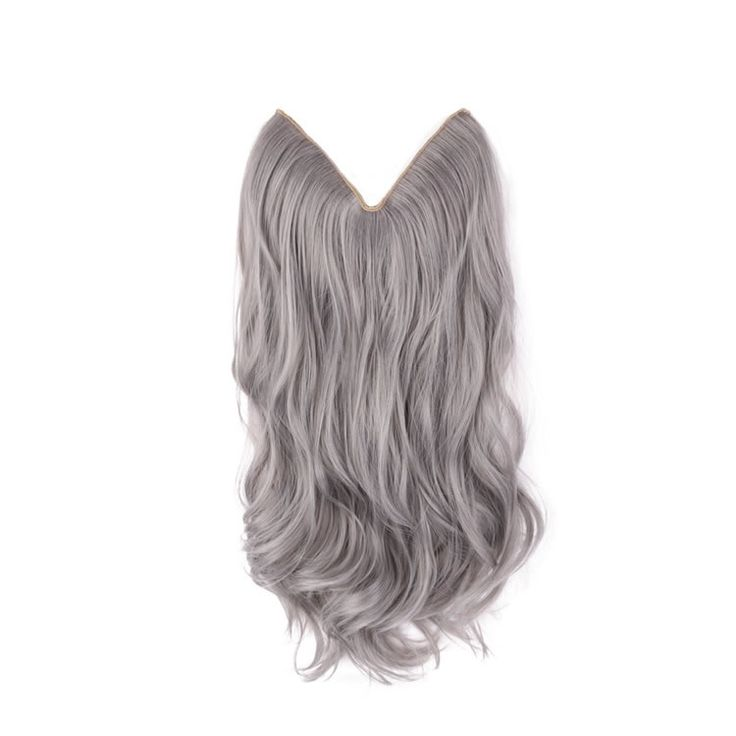 20 inch Silver Grey Hair Synthetic Flip In Hair Extensions Natural Wavy With Secret Miracle Wire 140g