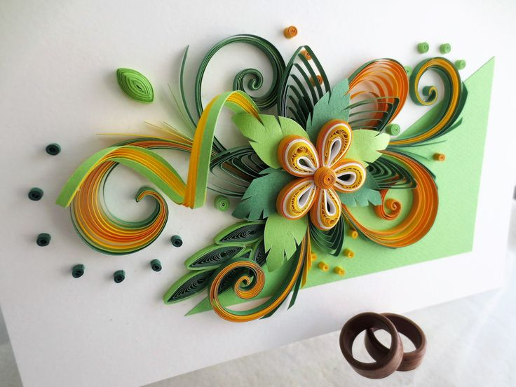 HANDMADE QUILLING CARD WITH HANDMADE WOODEN RINGS