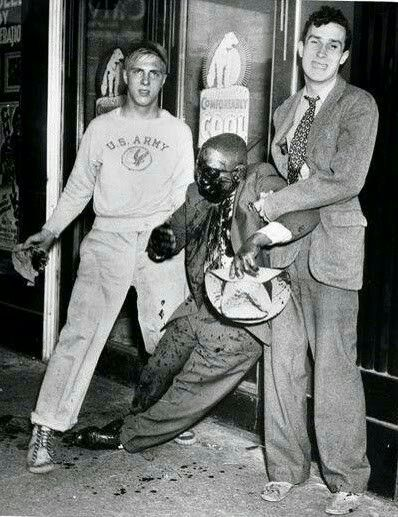 REPOST: Anytime you hear someone criticizing black people for rioting, share this info with them.  FACT: Prior to the 1960s, rioting (or race riots), consisted of whites burning down and destroying black communities simply because they didn't want  (Image: Race Riot in Detroit, 1943)