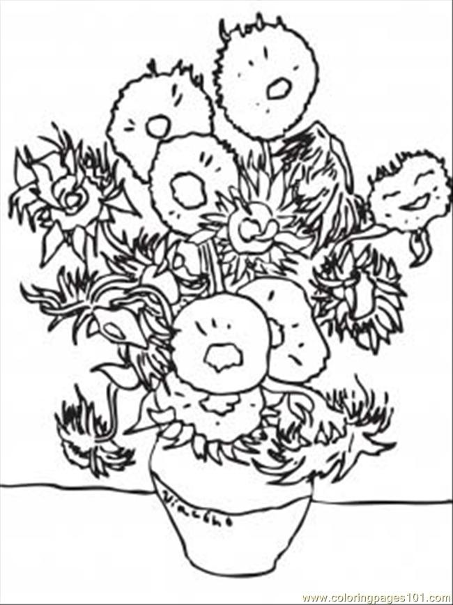 van gogh sunflower coloring page