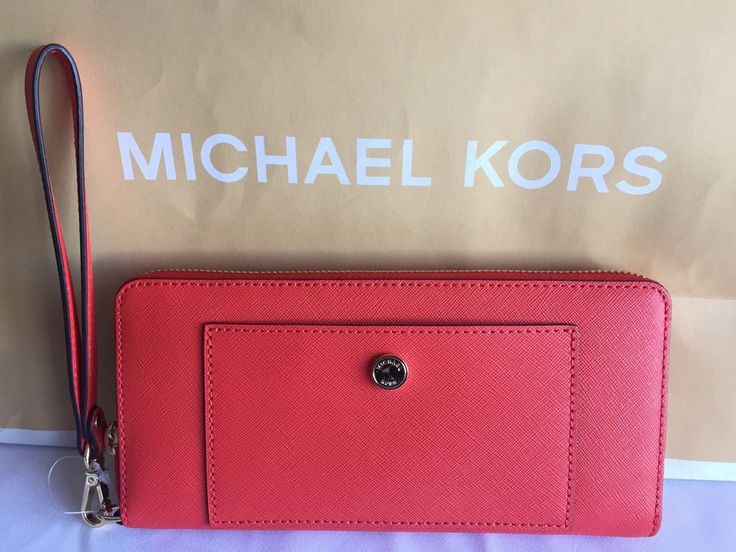 b83665a8e6c5 ... Nwt michael kors leather greenwich orange travel continental large  wallet ...