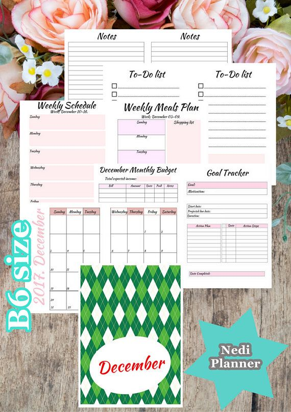 B6 size  December Monthly Planner Planner Printable 2017