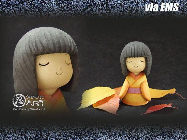 """Etsy のKawaii Ceramic Doll, Ceramic Japanese Kimono Girl """"SHINONOME"""", Japanese Folk Dolls, Hand-built Ceramic Art(ショップ名:ShinobuArakiArt)"""