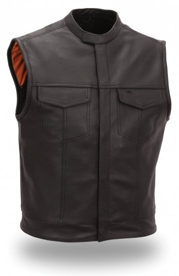 FMC Men's Leather Motorcycle/Biker Vest Concealed Snaps & Scooter Collar. $106.00 http://www.angelesbros.com/vests-men-s-vests-c-121_134_135/fmc-men-s-leather-motorcycle-vestconcealed-snaps-scooter-collar-p-2592