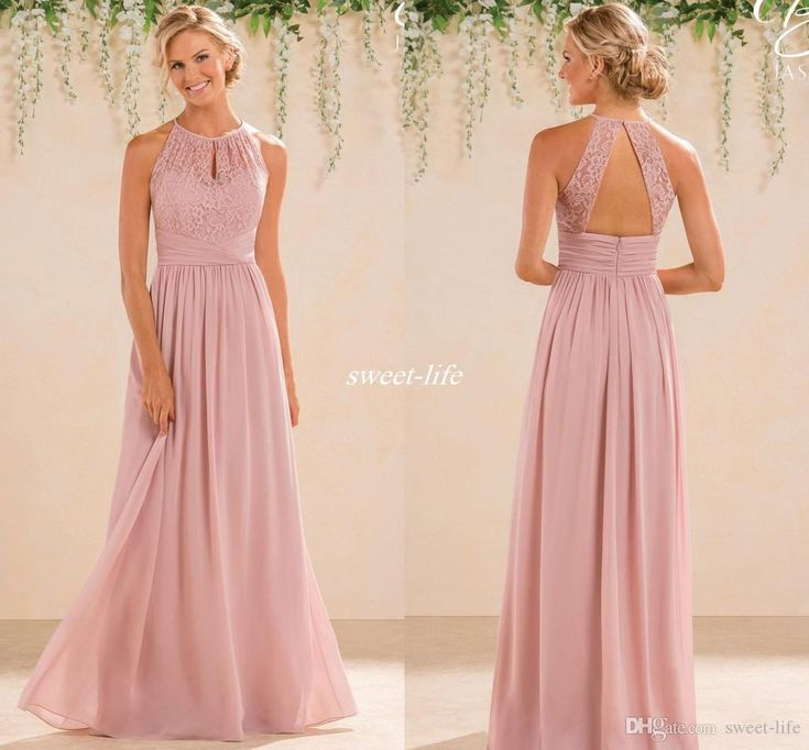 Blush 2017 Cheap A Line Lace Chiffon Bridesmaid Dresses A Line High Neck Backless Long Summer Beach Garden Wedding Guest Evening Party Gowns Bridesmaid Dresses Cheap Evening Dresses Online with 88.0/Piece on Sweet-life's Store | DHgate.com