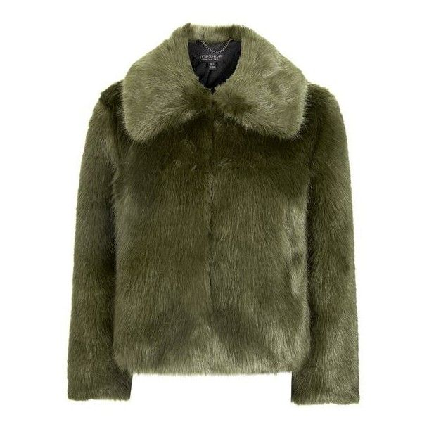 TopShop Luxe Fur Coat ($150) ❤ liked on Polyvore featuring outerwear, coats, jackets, topshop, green fur coat, fur coat, green coat and topshop coats