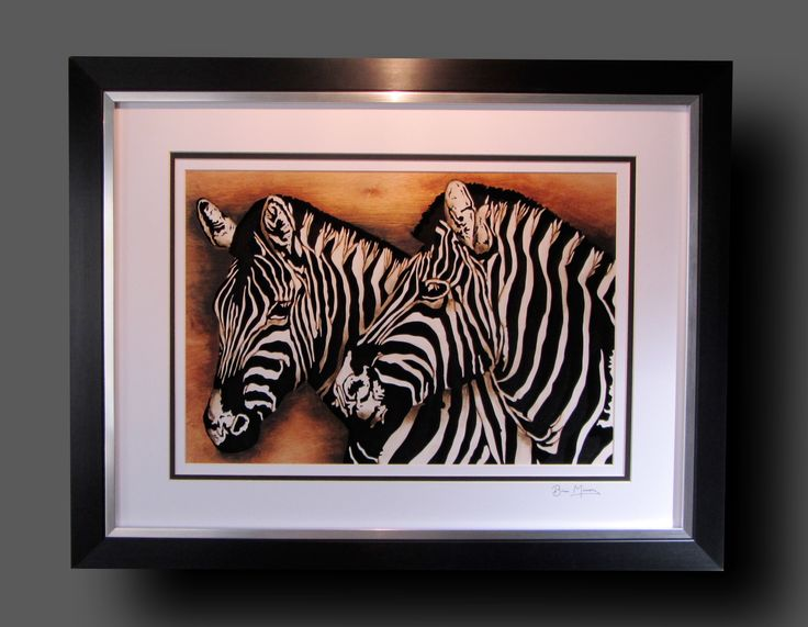 """Zebras. 25""""x 19"""". Mixed media using 9mm Birch and finished using acrylics, inks and pyrography. £110.00."""
