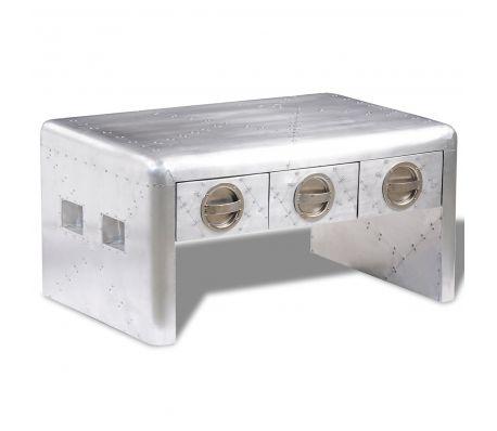 Măsuță de cafea din aluminiu în stil aviator retro, cu 3 sertare