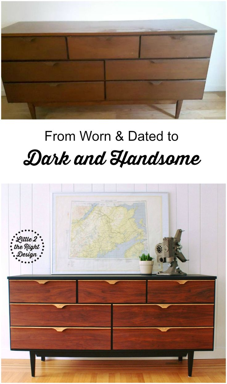 Worn and dated Mid Century Modern Dresser gets updated, with Sleek black paint and restored Walnut drawers and Handles. #mcm