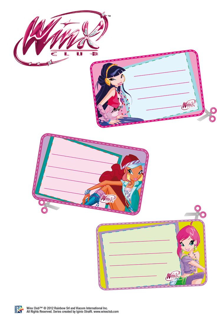 Winx club stickers used to label cups at birthday party.