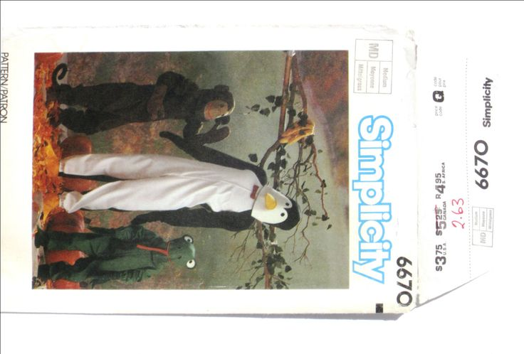 Halloween Costume Adult Size M Medium Monkey Ape Frog Penguin Simplicity 6670 Full Face Mask Jumpsuit Body Suit Dress Up Chest 36 38 UNCUT by RuthsGreenTreasures on Etsy