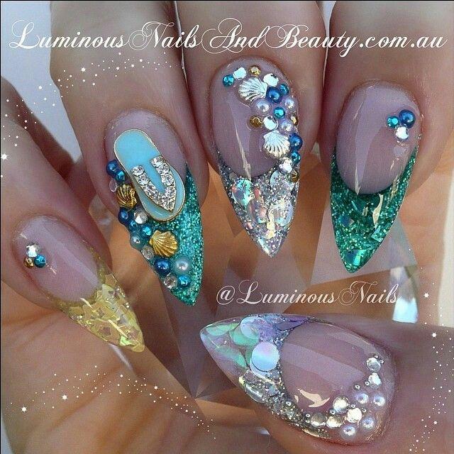 Advanced Nail Art: Ocean Theme Nails. Advanced Nail Art