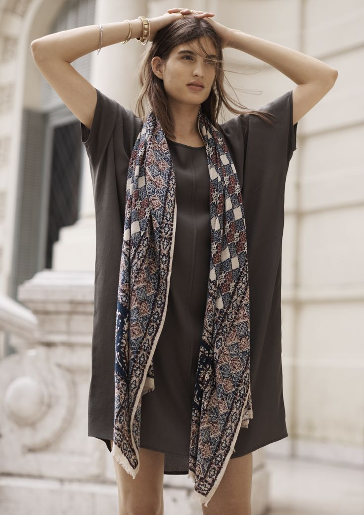 madewell silk woodcut diamond scarf worn with the easy dress.