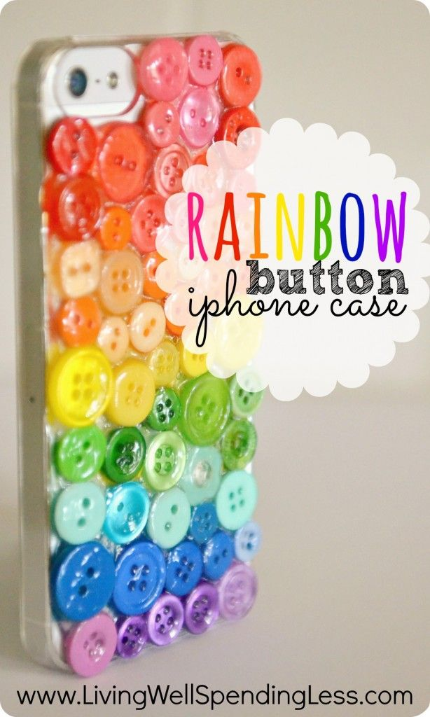 DiY Rainbow Button iPhone Case. Love this SO much! Darling custom iPhone case made from a $5 clear cover and spare buttons. Awesome handmade gift idea!