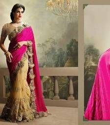 Buy PINK and CHIKU embroidered chiffon saree with blouse bridal-saree online