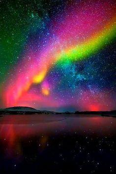 Rainbow Aurora Borealis Aurora borealis and milky way