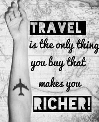 TRAVEL is the only thing you buy that makes you RICHER! #aforismi #travel #viaggio