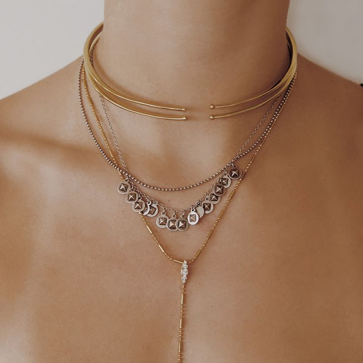The Double Spear Collar - Antique Gold   Luv Aj
