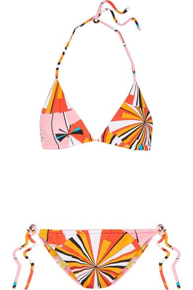 Emilio Pucci - Reversible Printed Triangle Bikini - Orange - IT42
