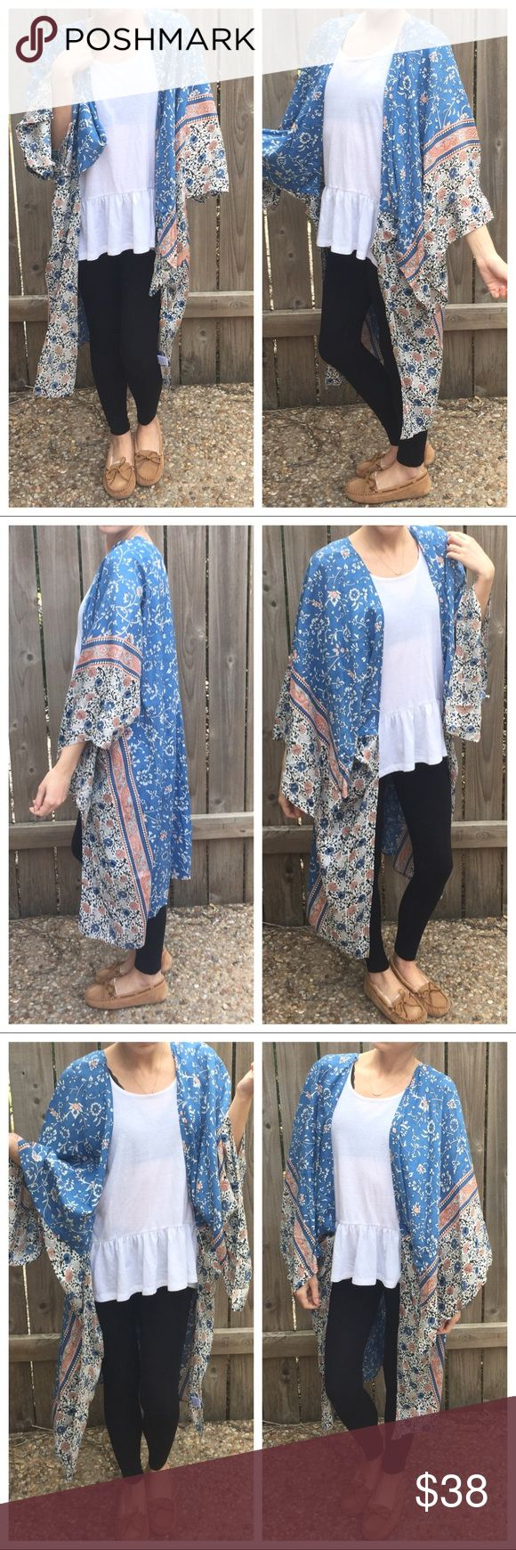 """▫️Gorgeous Boho Patterned Long Kimono One of my fave pieces! Gorgeous boho patterned kimono. This just screams comfy day in with Netflix!! Perfect to throw over a tee and leggings! Or dress it up with some skinnies and heels for date night or girls night! Very nicely made with wide sleeves. So many little details that make this one of a kind! Oversized fit. One Size fits All. I am 5'4"""" for reference! Rayon. Length:  40""""  *Bundle 2+ items for discount. Tops"""