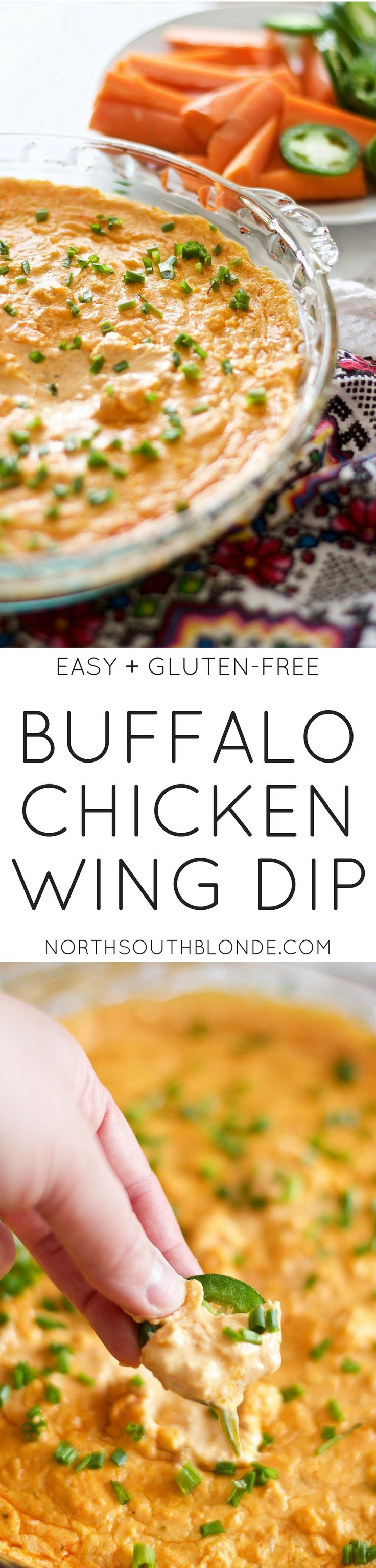 Cheesy Buffalo Chicken Wing Dip - entertain with this delicious, quick, and easy to make appetizer, guaranteed to make people lick the pan clean. It's warm, creamy, and incredibly cheesy! Great for game night, parties, get togethers, and the weekend! Made with Frank's REDHOT buffalo wing dip, you'll love this easy gluten-free snack! Super Bowl | Camping Recipe | Delicious | Quick | Cheese Dip | Click thru to get the recipe.