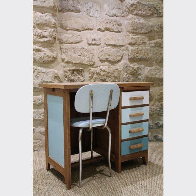 Petit bureau des années 60 et sa chaise vintage