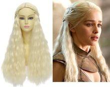 game of thrones daenerys targaryen/khaleesi bárbaro traje noiva bege tranças longos cabelos ondulados alta qualidade peruca cosplay(China (Mainland))