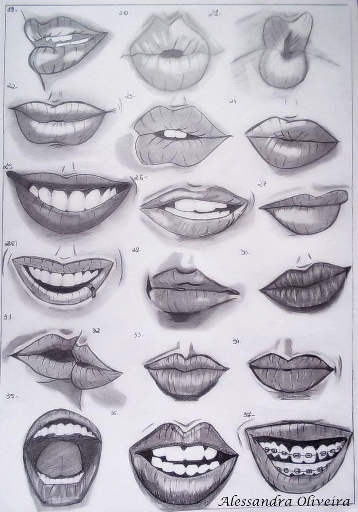 Estudo de desenho de observação de bocas em dif…