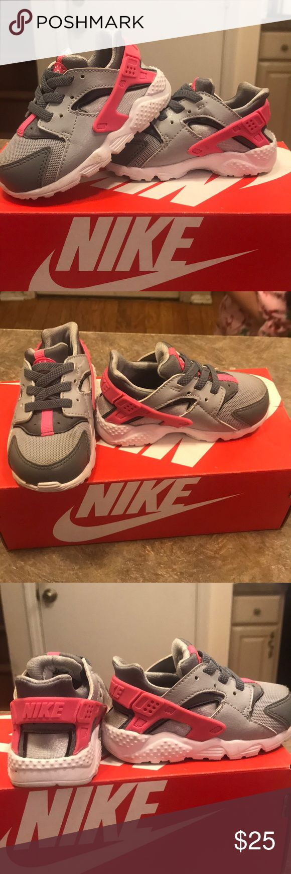 Toddler Nike Huarache SZ 6c Nike Huarache Toddler SZ 6c Grey/pink Like new Nike Shoes Sneakers