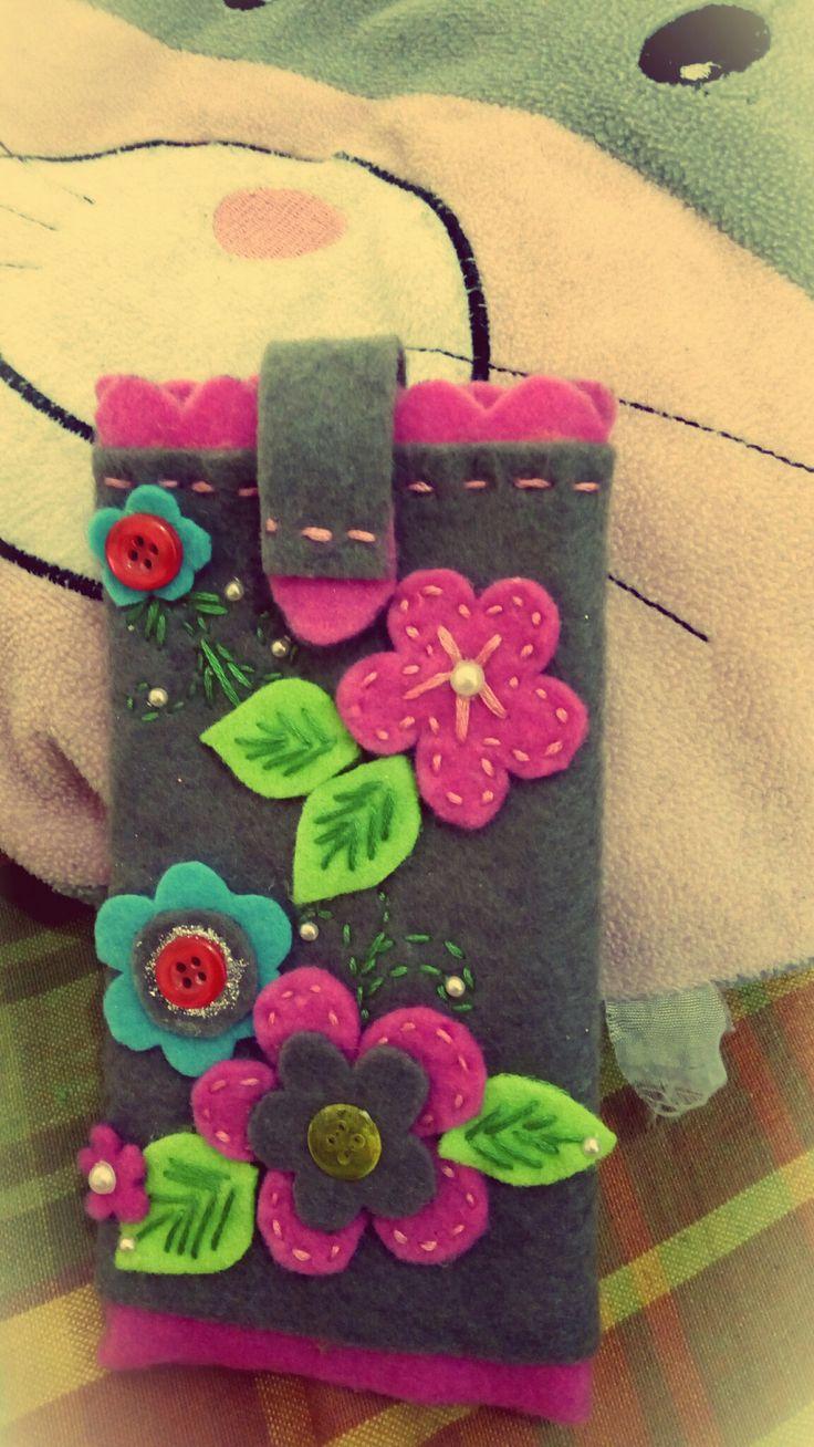 Felt floral phone case..