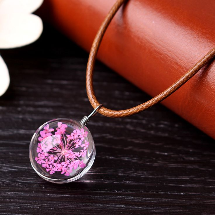 Flowers Artificial Crystal Ball Pendant Wax Rope Clavicle Necklaces