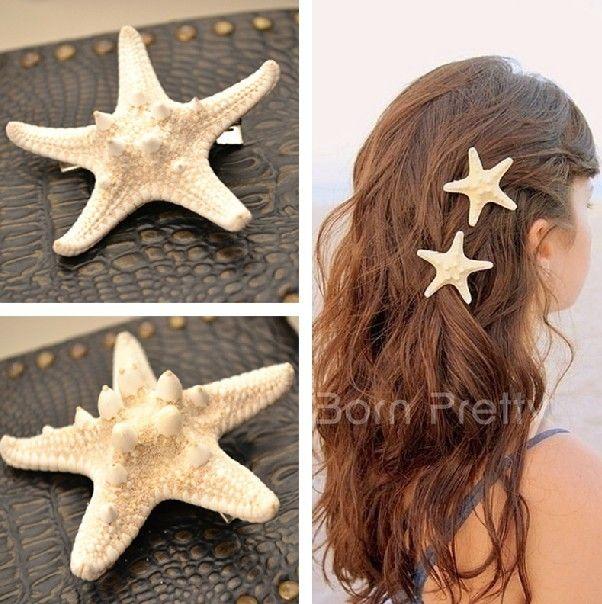 Those are unique, and it would probably look really pretty. c:  @BornPrettyStore, 1pc Exquisite Pretty Starfish Design Hair Cli... at USD $6.98. http://www.bornprettystore.com/-p-10114.html