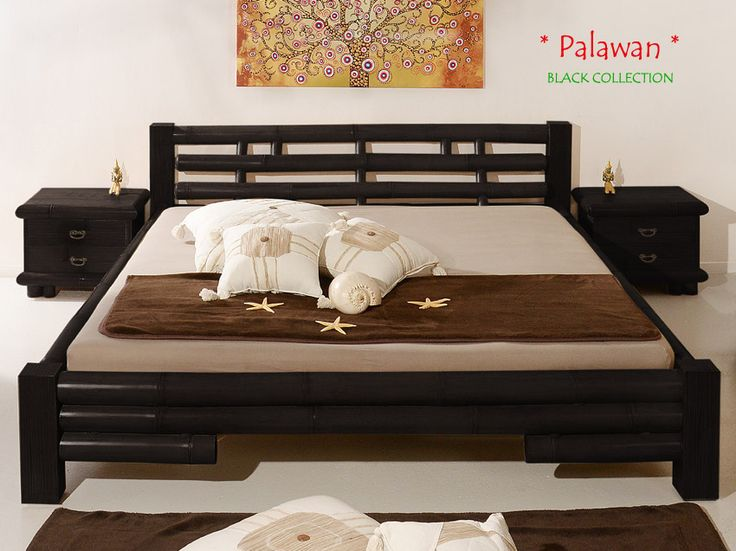 PALAWAN Designer Bambusbett 140x200   BLACK COLLECTION