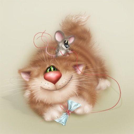 Картинки про, открытки мышь с котом