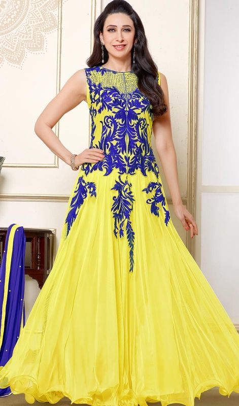 Be a stunner in the crowd just like Karisma Kapoor by wearing this yellow net embroidered gown. You'll see some interesting patterns done with patch and resham work. #KarismaKapoorNetFlaredGownCollection