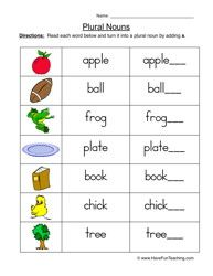 Plural Nouns Worksheet 1                                                                                                                                                                                 More