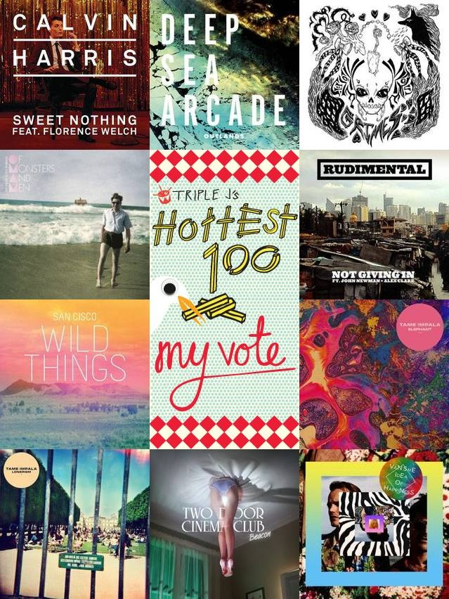 Check out what I voted for in triple j's Hottest 100 2012