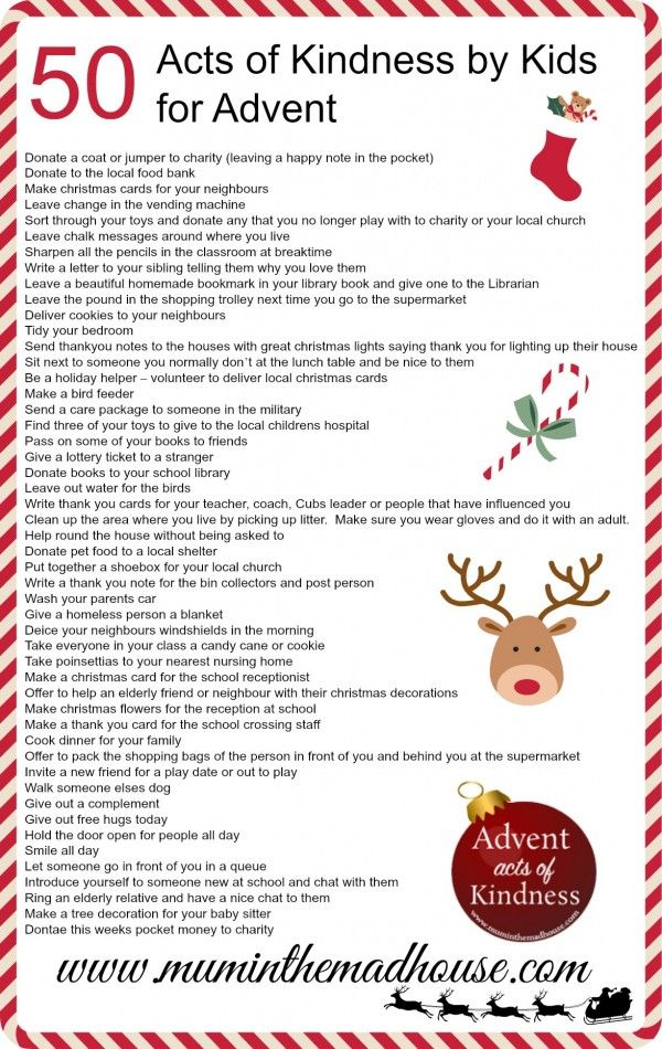 An Alternative Advent Calendar - Acts of Kindness by kids - Mum In The Madhouse- Mum In The Madhouse