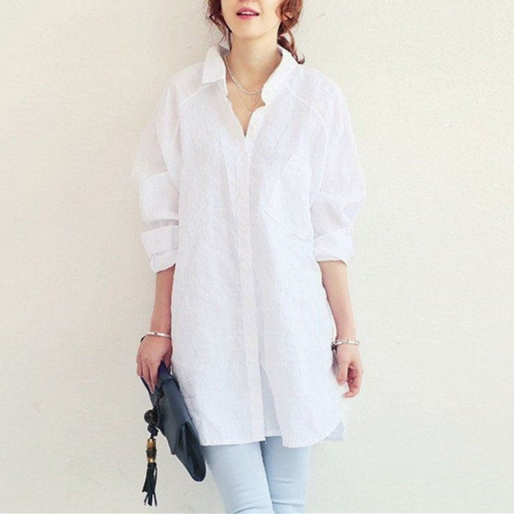 $12.50 // 2016 Spring Autumn Fashion Women Casual Loose Long Sleeve Cotton Linen Shirts Solid Button Blouse Tops Blusas US Plus Size 4 24-in Blouses & Shirts from Women's Clothing & Accessories on Aliexpress.com | Alibaba Group