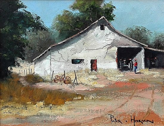 "The-Barn by Pieter van Heerden Oil ~ 300mm (12"") x 400mm (16"")"