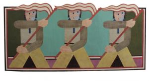 Barry Lett, 'The Flagbearers' (2012) Acrylic on reassembled plywood, 3504 x 1665 mm, POA at the Remuera Gallery