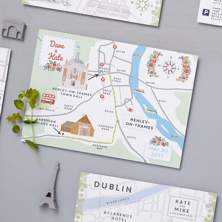 Lucy says i do wedding stationery custom map design  henley on thames bespoke