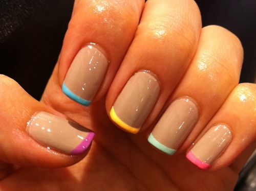 nude polish with neon tips, cool!