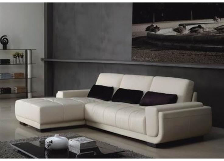 Elliot modern white leather sectional sofa