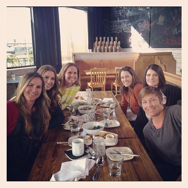 Ladies who lunch. From left: Brandi Chastain, Alex Morgan, Christie Rampone, Julie Foudy, Mia Hamm, Abby Wambach. (juliefoudy/Instagram)