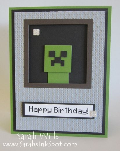 Punch Art Minecraft Creeper Card by willsygirl - Cards and Paper Crafts at Splitcoaststampers