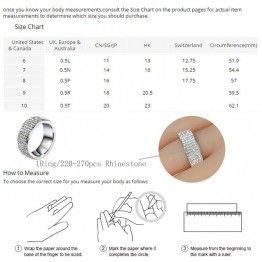 Chanfar 5 Rows Elegant Crystal Stainless Steel Ring for Women