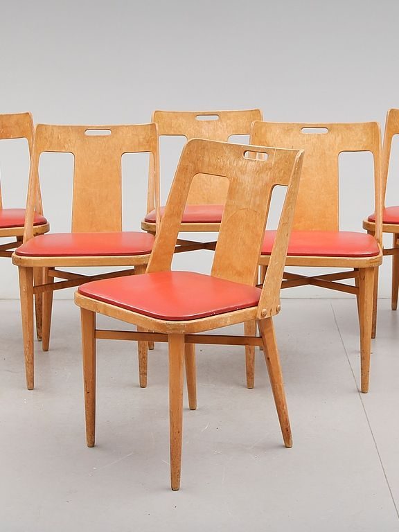 Axel Larsson; Dining Chairs for Bodafors, 1948.